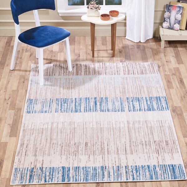Chantae Watercolor Stripes Taupe/Navy Area Rug by Highland Dunes