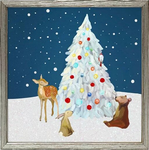 Acrylic Christmas Tree Painting.Holiday Winter Wonderland Tree With Friends Framed Acrylic Painting Print On Canvas