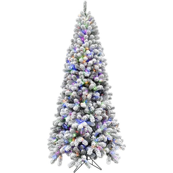 Flocked Alaskan Green/Snow Pine Trees Artificial Christmas Tree with 550 with Colored and White LED String Lights by The Holiday Aisle
