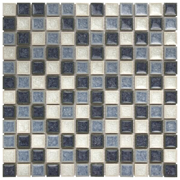 Interval 0.88 x 0.88 Ceramic and Glass Mosaic Tile in Azure Blue/Beige by EliteTile
