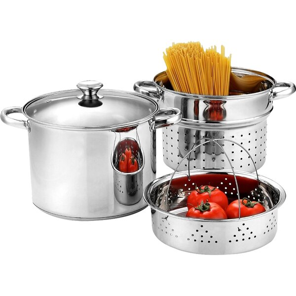 Stainless Steel 4 Piece Pasta Cooker Steamer Multi-Pot by Cook N Home