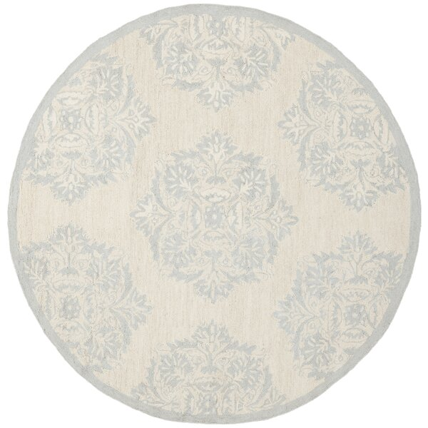 Helena Hand-Hooked Wool Blue/Ivory Area Rug by Charlton Home