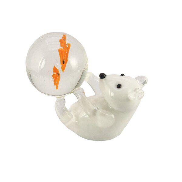 Bridgnorth Well Fed Polar Bear Glass Sculpture by Zoomie Kids
