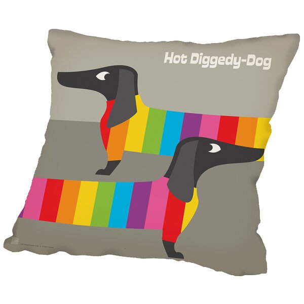 Rainbow Dogs Throw Pillow by East Urban Home