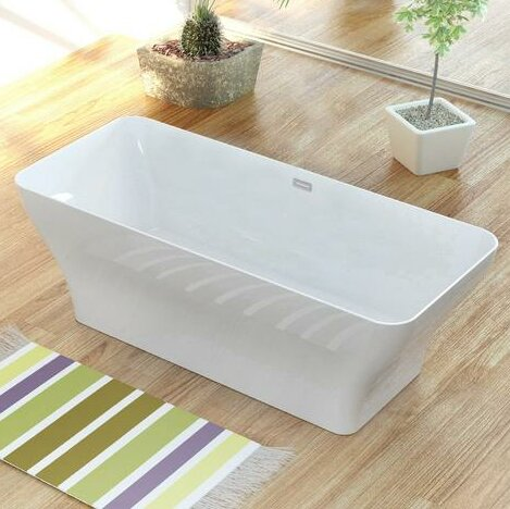 Solid Surface Resin 67 x 28 Freestanding Soaking Bathtub with Internal Drain by Streamline Bath