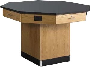 Octagon Workstation with Pedestal Base and Flat Top by Diversified Woodcrafts