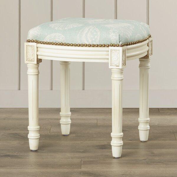 Coastal Seashells Linen Upholstered Vanity Stool by 123 Creations