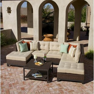 Kopec 5 Piece Rattan Sunbrella Sectional Set By Bayou Breeze