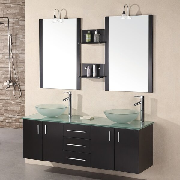 Newcastle 61 Floating Double Bathroom Vanity Set with Mirrors by Brayden Studio