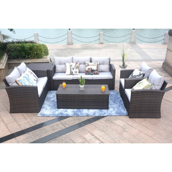 Ringler 6 Piece Rattan Sofa Seating Group with Cushions by Red Barrel Studio
