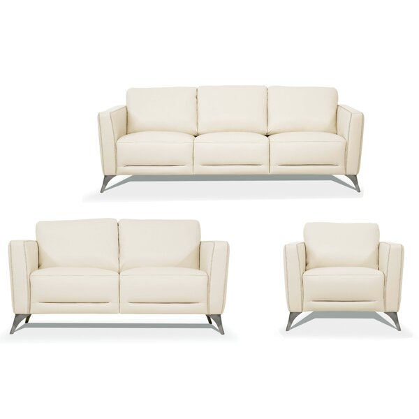 Review Rizzo 3 Piece Leather Living Room Set