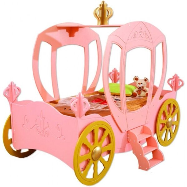 Reichel Princess Carriage Toddler Car Bed with Mattress by Zoomie Kids