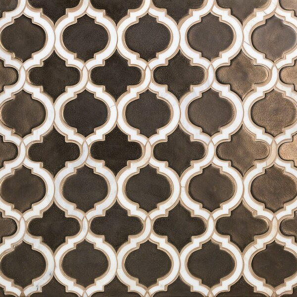 Oracle Random Sized Mixed Material Mosaic Tile in Metallic Copper by Splashback Tile