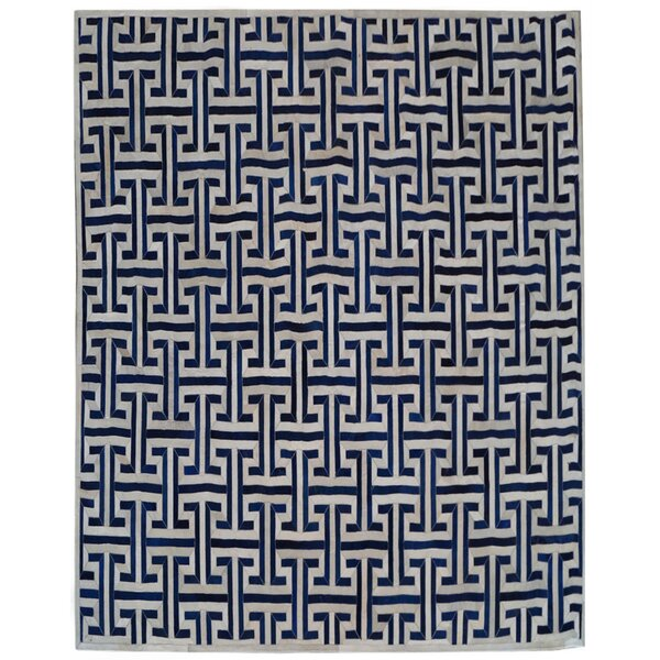 Natural Hide Leather Hand-Woven Navy/White Area Rug by Exquisite Rugs