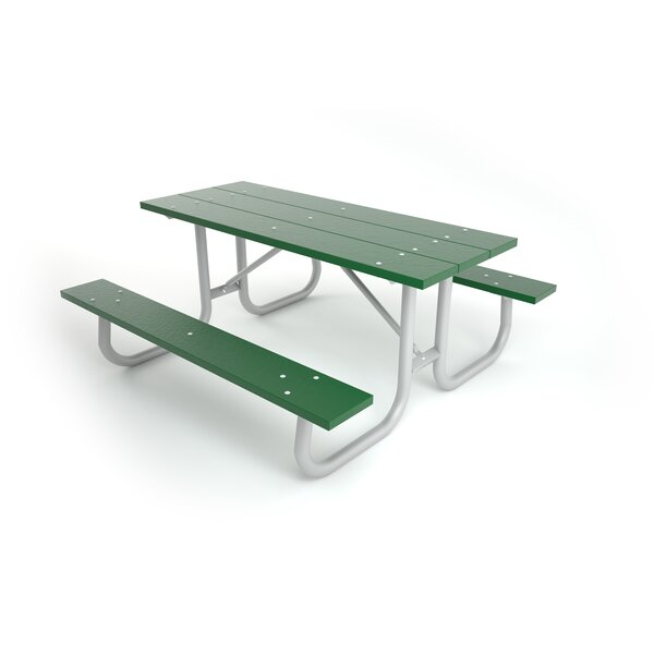 Galvanized Picnic Table with Black Frame by Frog Furnishings Frog Furnishings