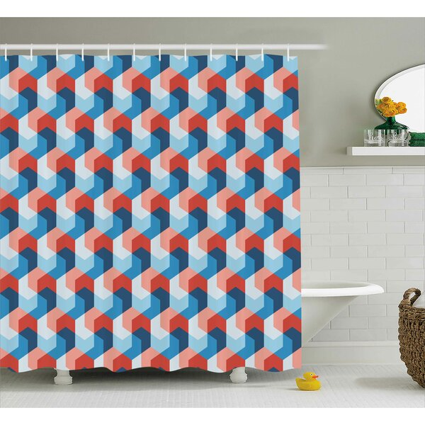 Brayan Mosaic Geometric Art Print Shower Curtain by Ivy Bronx