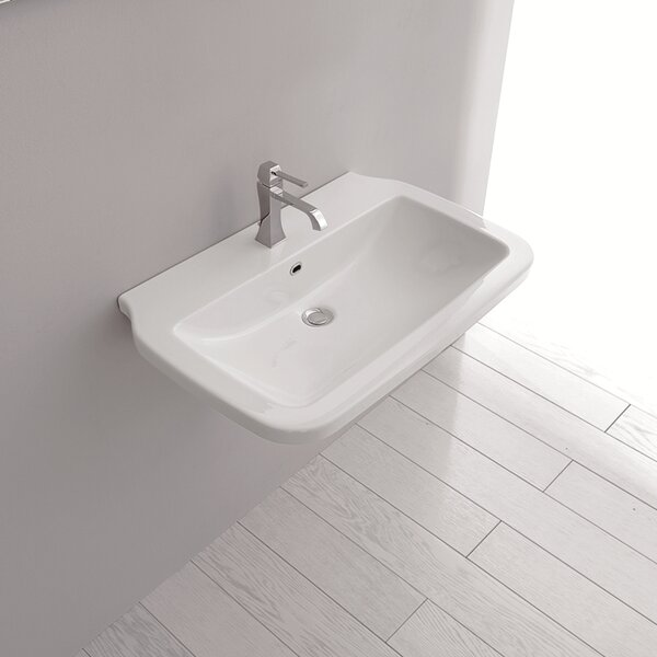 Nova Ceramic Ceramic Rectangular Vessel Bathroom Sink with Overflow by WS Bath Collections
