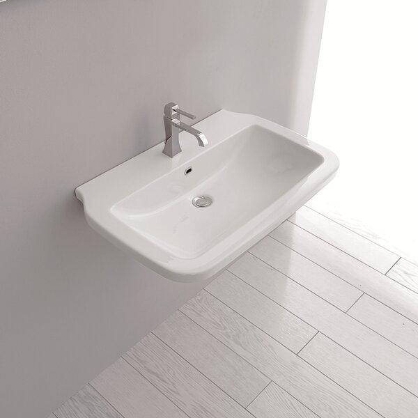 Nova Ceramic Ceramic Rectangular Vessel Bathroom Sink with Overflow by WS Bath Collections
