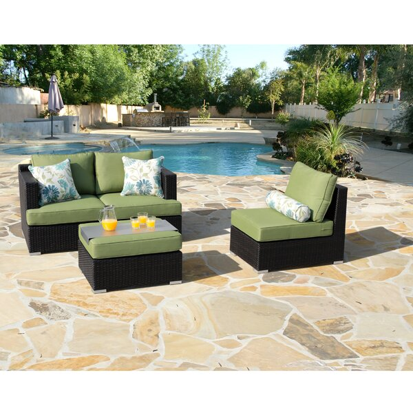 Talmage 4 Piece Rattan Sunbrella Sectional Seating Group with Cushions by Brayden Studio