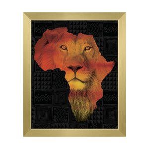 Africa Silhouette - Lion Framed Graphic Art on Canvas by Click Wall Art