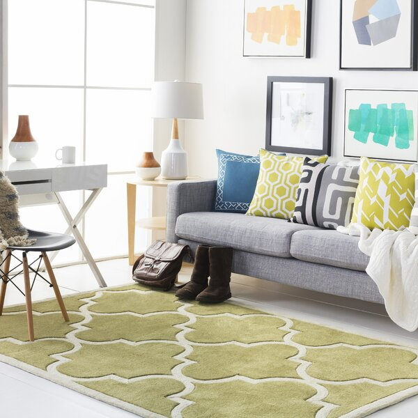 Alfson Hand-Tufted Olive/Ivory Area Rug by Winston Porter