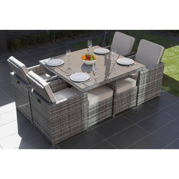 Alethea 9 Piece Outdoor Patio Dining Set with Cushions by Latitude Run