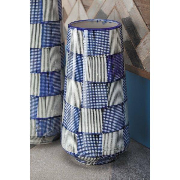 Fincham Coastal Plaid Checkered Table Vase by Breakwater Bay