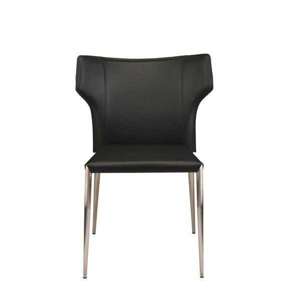 Wilfried Leather Upholstered Upholstered Solid Back Side Chair by Orren Ellis Orren Ellis