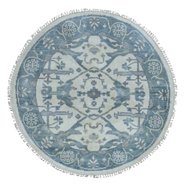 One-of-a-Kind Fairfield Oushak Hand-Woven Wool Blue Area Rug by Bloomsbury Market