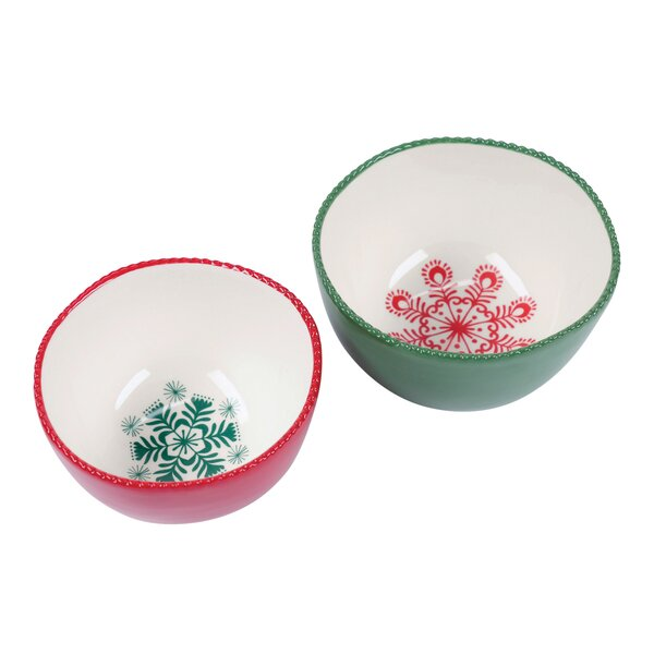 2 Piece Nested Snowflake Dip Serving Bowl Set by F