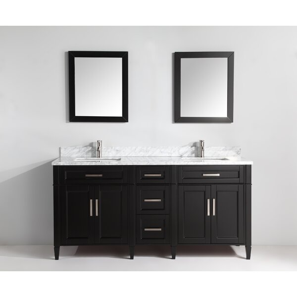 Lachine Marble Stone 72 Double Bathroom Vanity with Mirrors by Gracie Oaks