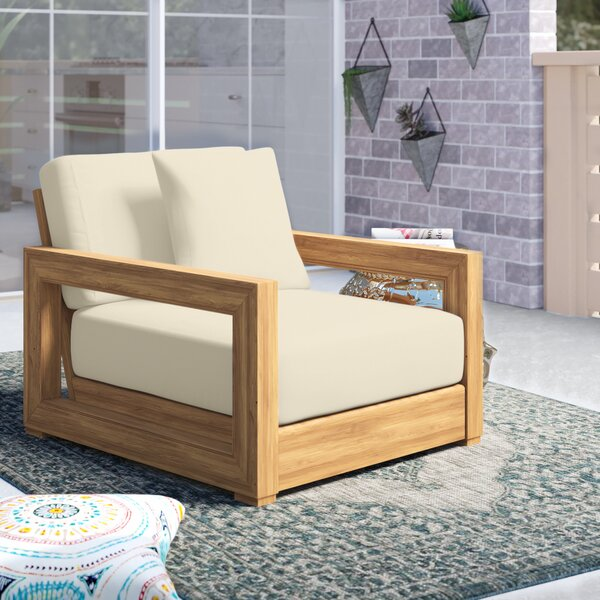 Burdette Teak Patio Chair with Cushions by Greyleigh
