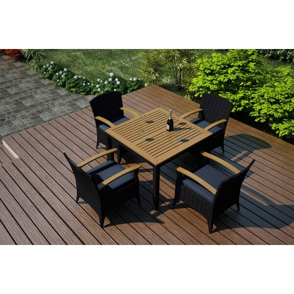 Arbor 5 Piece Teak Dining Set with Sunbrella Cushions by Harmonia Living
