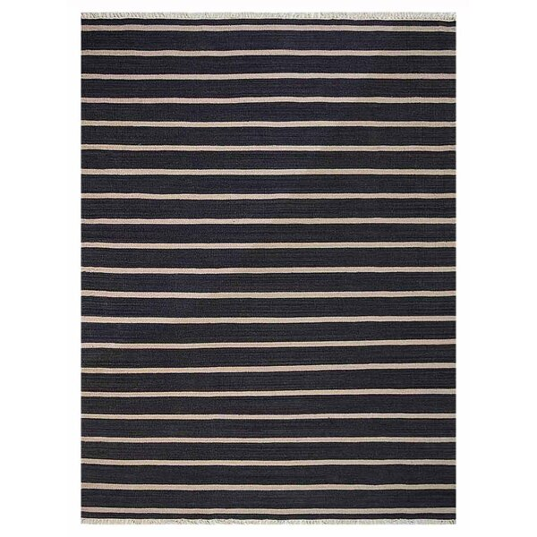 Reyes Hand-Woven Wool Black Area Rug by Wrought Studio