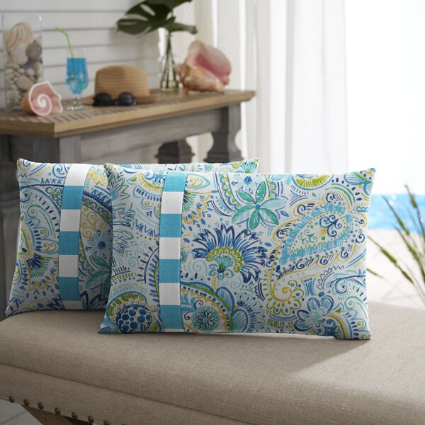 Mayda Floral Indoor/Outdoor Lumbar Pillow (Set of 2) by Mozaic Company