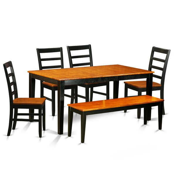 Pillar Traditional 6 Piece Dining Set with Rectangular Table Top by August Grove