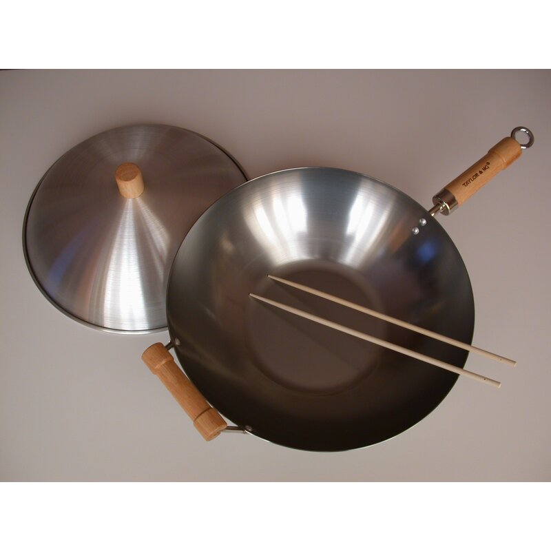 taylor  ng classic woks 3 piece nonstick carbon steel