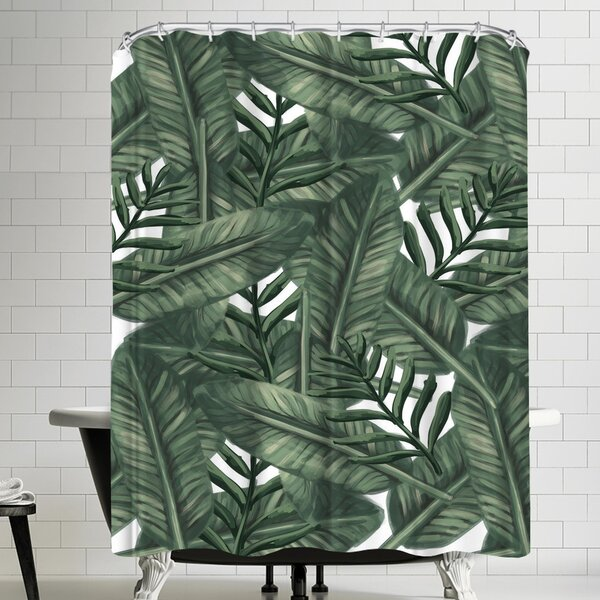 Jetty Printables Tropical Palm Leaf Shower Curtain by East Urban Home