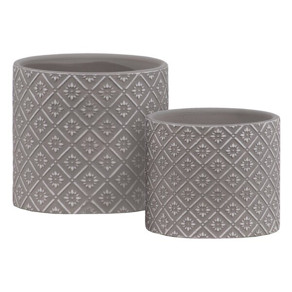 Reaves Cylindrical 2 Piece Stone Pot Planter Set by Bungalow Rose