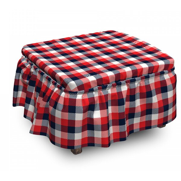 Plaid Traditional Retro 2 Piece Box Cushion Ottoman Slipcover Set By East Urban Home