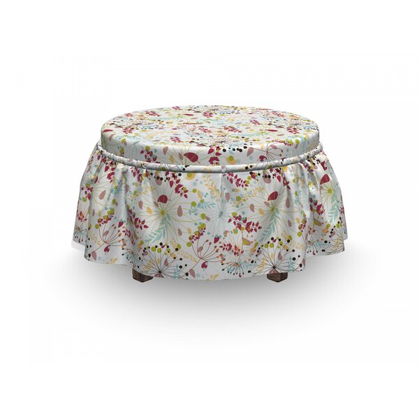Floral Botanical Spring Petals 2 Piece Box Cushion Ottoman Slipcover Set By East Urban Home