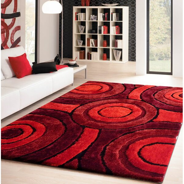 Living Shag Hand-Tufted Red Area Rug by Rug Factory Plus