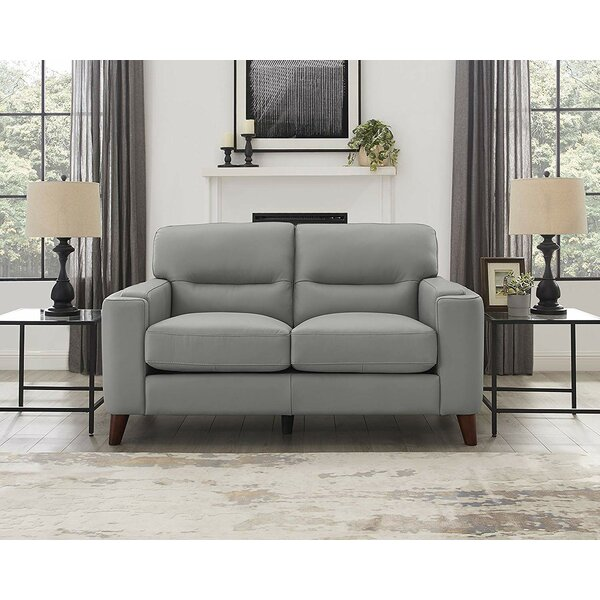 Modern Brand Lovelady Leather Loveseat by Ivy Bronx by Ivy Bronx
