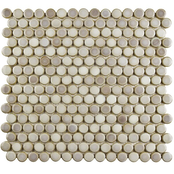 Penny 12 x 12.63 Porcelain Mosaic Floor and Wall Tile in Dove Gray by EliteTile