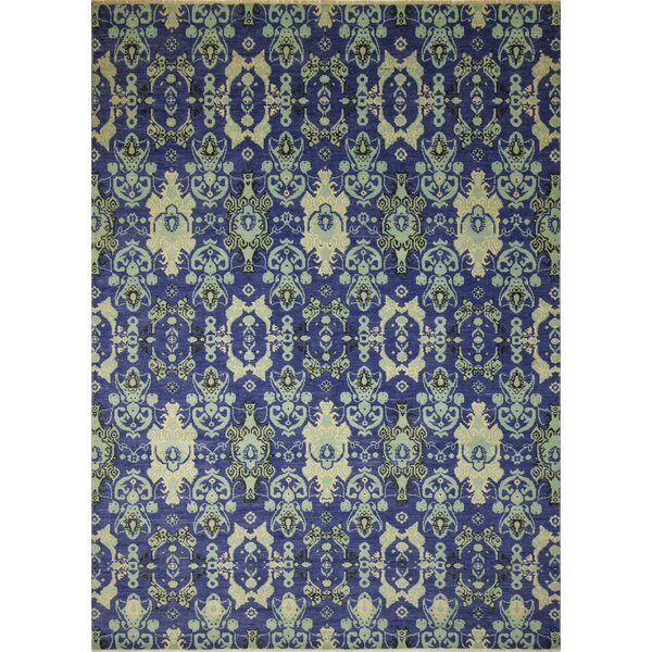 One-of-a-Kind Lona Hand-Knotted Dark Blue Area Rug by Isabelline