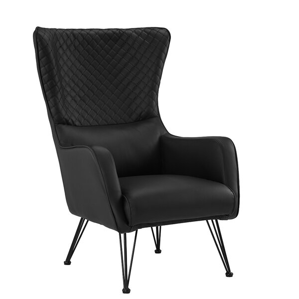 Bianco Mid-Century Faux Leather Wingback Chair by Wrought Studio