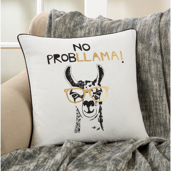 Herbert No Probllama Design Cotton Throw Pillow by Brayden Studio