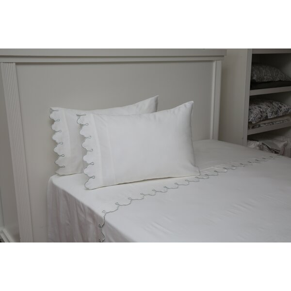 Claudie Embroidered Cotton Standard Pillow by One Allium Way