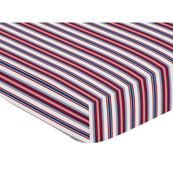 Baseball Patch Stripe Print Fitted Crib Sheet by Sweet Jojo Designs