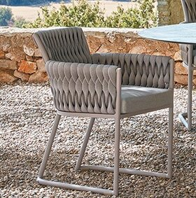 Grogan Patio Dining Chair with Cushion by Bungalow Rose